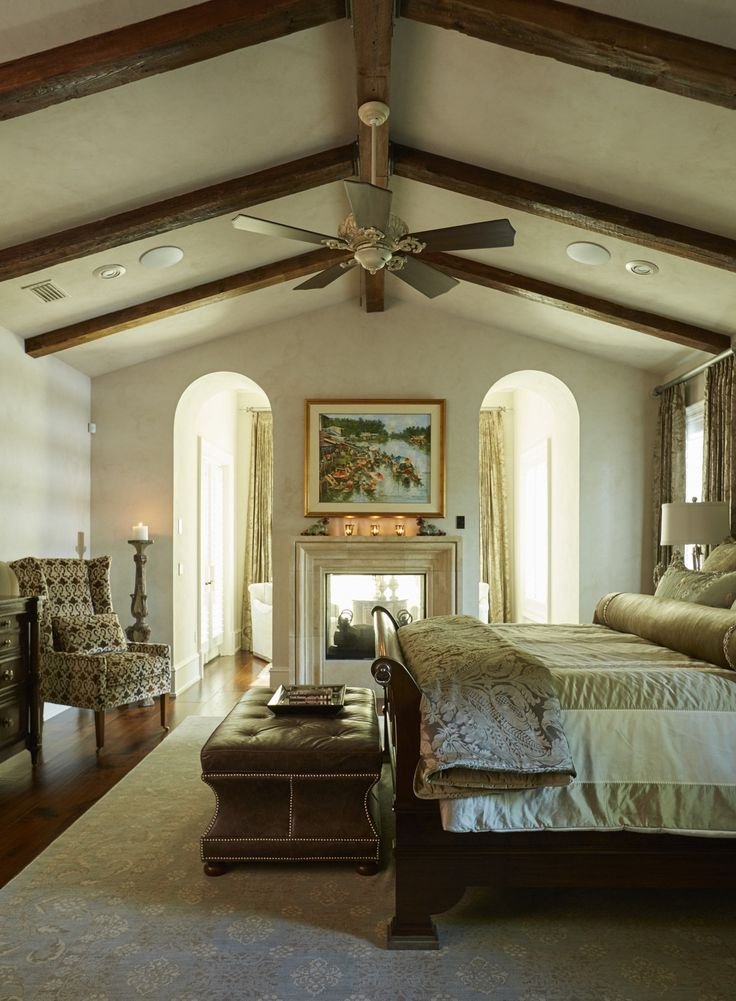 Relaxing Master Bedroom | Vaulted Ceiling with Wood Beams | Bedroom Fireplace | Cozy and Comfortable | Interior Design | Sandestin | South Walton | Designers: Helene Forester, Bunny Hall | Lovelace Interiors