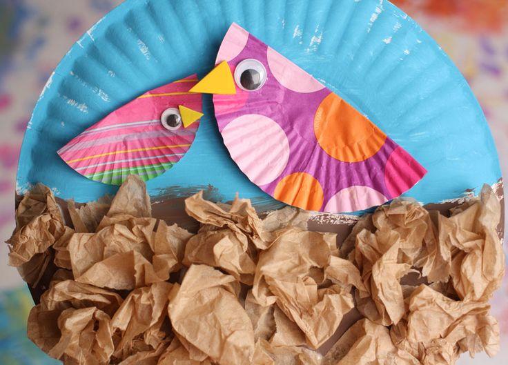 Paper Plate Birds In A Nest Craft Kid Crafts Birdhouse