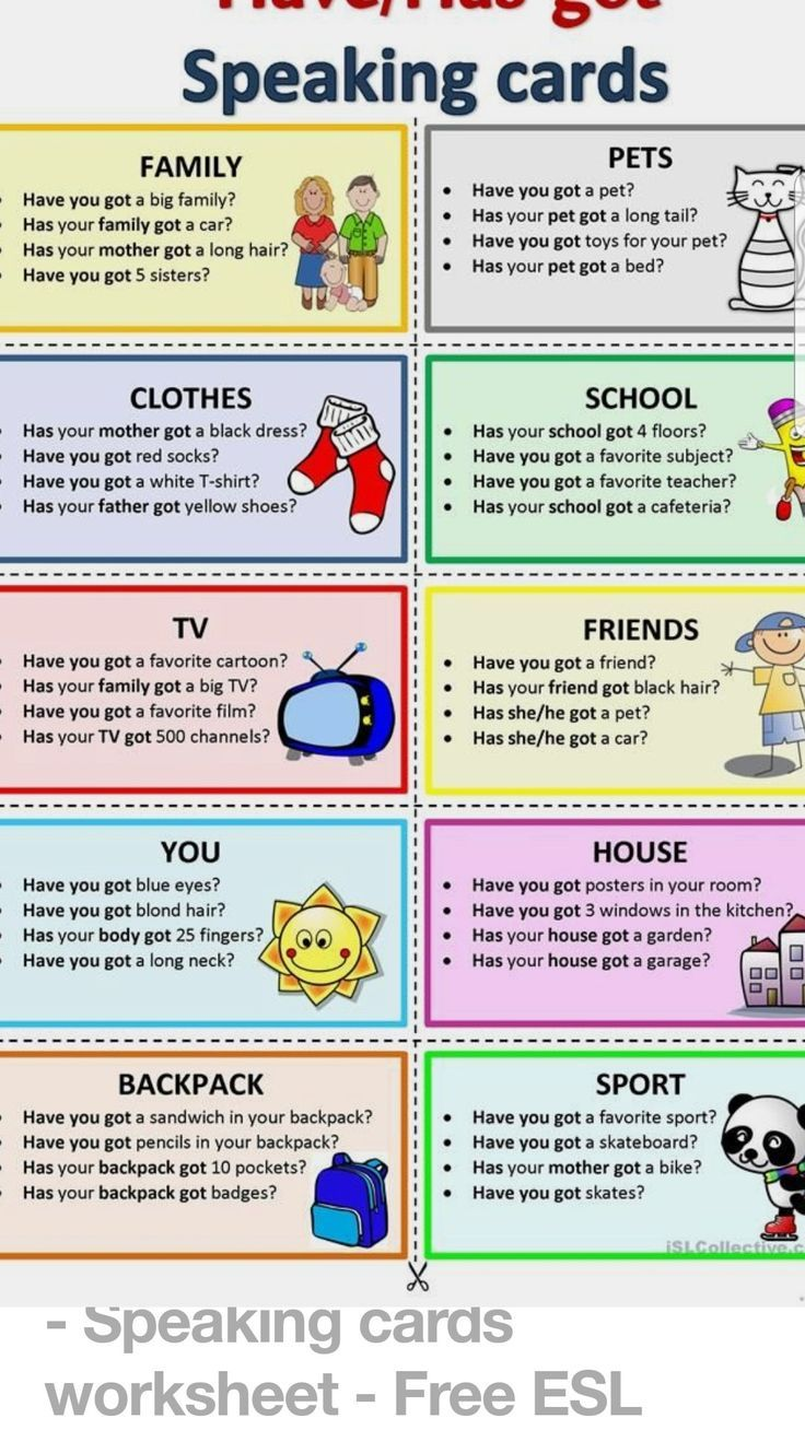 Have Havegot Haven T You Got Speaking Activities English Learning English For Kids English Language Teaching