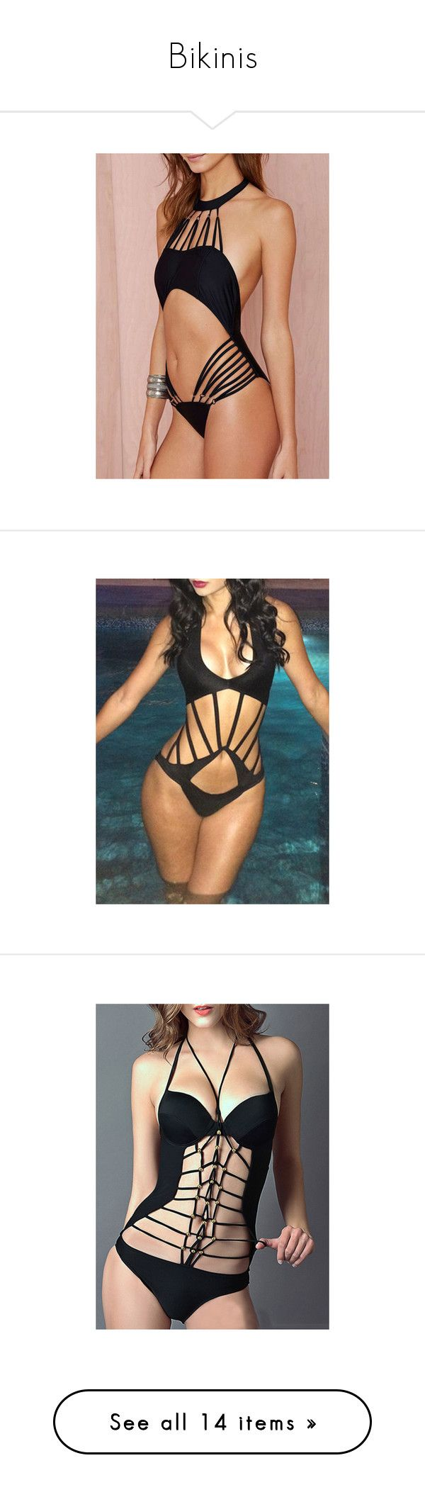 """Bikinis"" by diane-ds ❤ liked on Polyvore featuring swimwear, one-piece swimsuits, black, black halter one piece swimsuit, halter one piece swimsuit, halter top, monokini swimwear, monokini bathing suit, bathing suit and bikini"