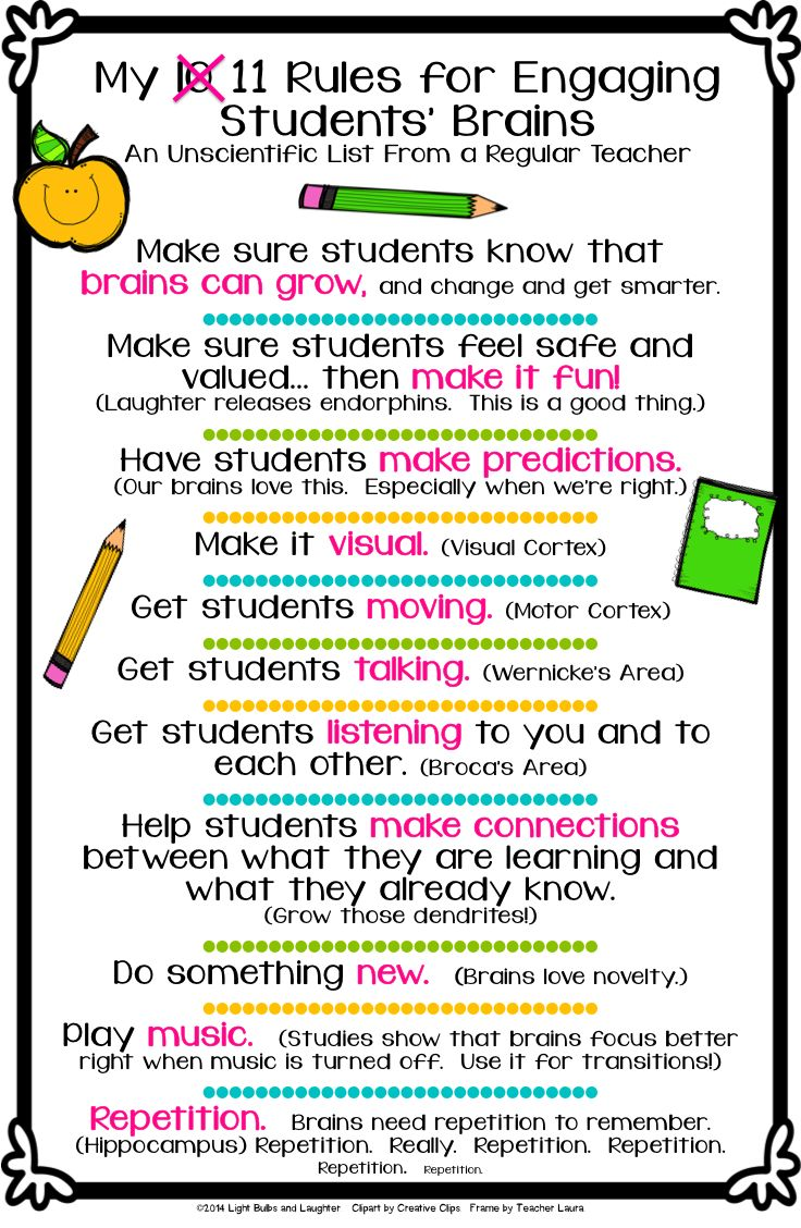 Light Bulbs and Laughter - Eleven Rules for Engaging Students' Brains.  FREE download!