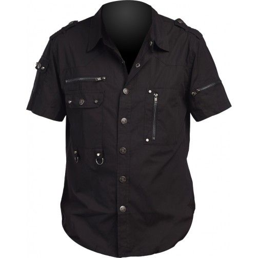 Black short-sleeve shirt with zippers and d-rings