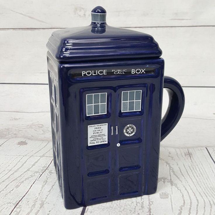 Doctor Who TARDIS Police Box 17oz Ceramic Sculpted Square Coffee Mug w/ Lid