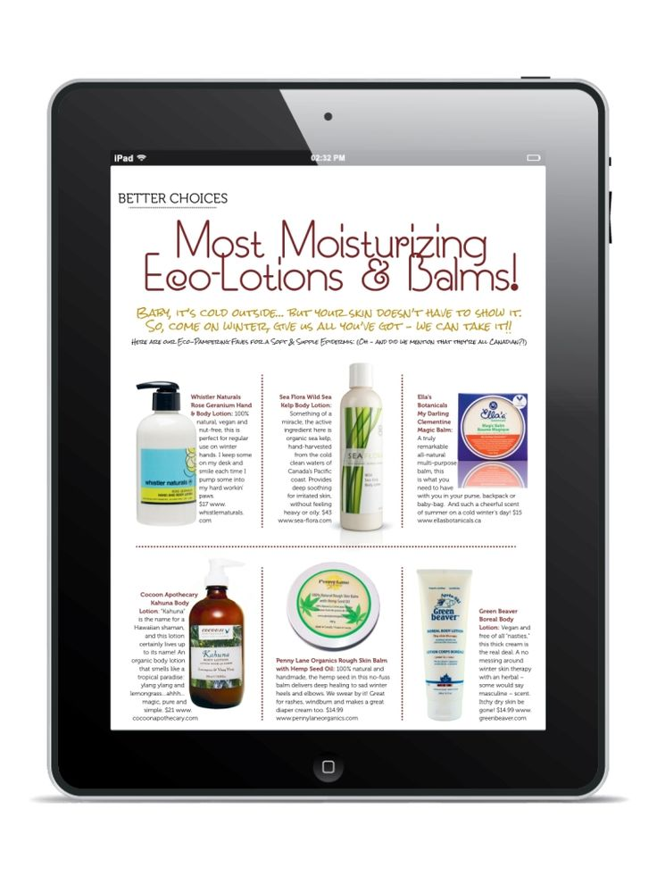 Article in Eco-Parent magazing on Most Moisturizing natural lotions