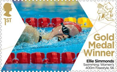 Paralympics Team GB Gold Medal Winners 1st Stamp (2012) Swimming: Women's 400m Freestyle, S6 - Paralympics Team GB Gold Medal Winners