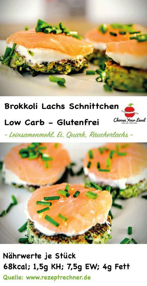 Unsere Low Carb Lachs Schnittchen auf Brokkoli Canapes sind super geeignet als kleine Zwischenmahlzeit oder Snack, aber eignen sich auch hervorragend als gesunde Vorspeise zu einem 3 Gänge Menü Zutaten: Für die Brokkoli Canapes: 1 Brokkoli (200g geraspelter Brokkoli) 3 Eier 30g Leinsamenmehl Salz, Pfeffer Butterschmalz Für den Belag: 200g Quark (40%) 3 EL Schnittlauch Räucherlachs Salz, Pfeffer, 1 Prise brauner Rohrzucker ggf. ein wenig Mineralwasser