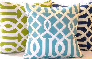love the colors: Pillows Covers, Modern Trellis, Trellis Indoor Outdoor, Cute Pillows, Indoor Outdoor Pillows, Blue Green, Modern Blue, Pillows Sets, Blue Trellis