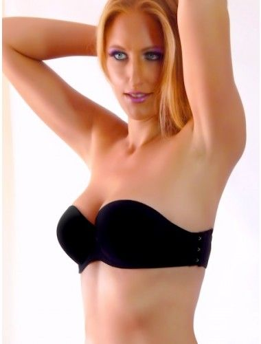 Strapless Bra with Push-Up Pads & Flower Tattoo - Black Element ...