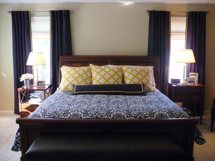 Navy And Yellow Master Bedroom Amy Barrickman Design