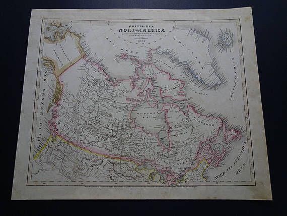 CANADA old map of British North America 1849 original antique