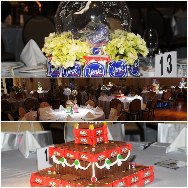 Custom and creative combinations of Rachel's favorite candies and flowers incorporated in the centerpieces. Scott Ellis Photography.