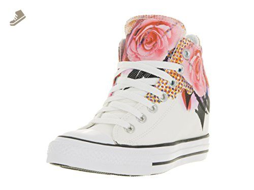 Converse Women's Chuck Taylor Lux Mid White/Pink/Black Basketball ...