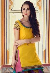 Yellow Chanderi Cotton Salwar Suit