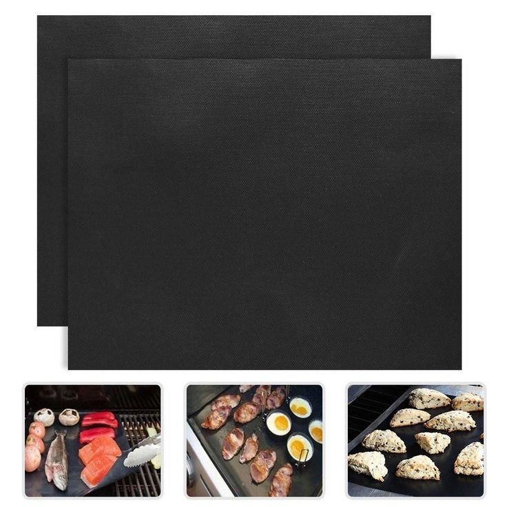 BBQ Grill Mat 2pcs/set 0.2mm 33*40cm non-stick Reusable Sheet Grill Foil BBQ Liner Feature:   The size is 15.8 x 13 inches (33x40cm large size).  Don't contact with open fire directly!   DOUBLE SIZED BBQ GRILL MAT - Covers more of your grill not just a small part of it. Cut to Fit any size grill use them for baking or on smaller grills like George Foreman's. TESTED TO 650 DEGREES PEAK TMPERATURE Can with stand direct Flames from flare ups - Your food will cook and will come complete with…