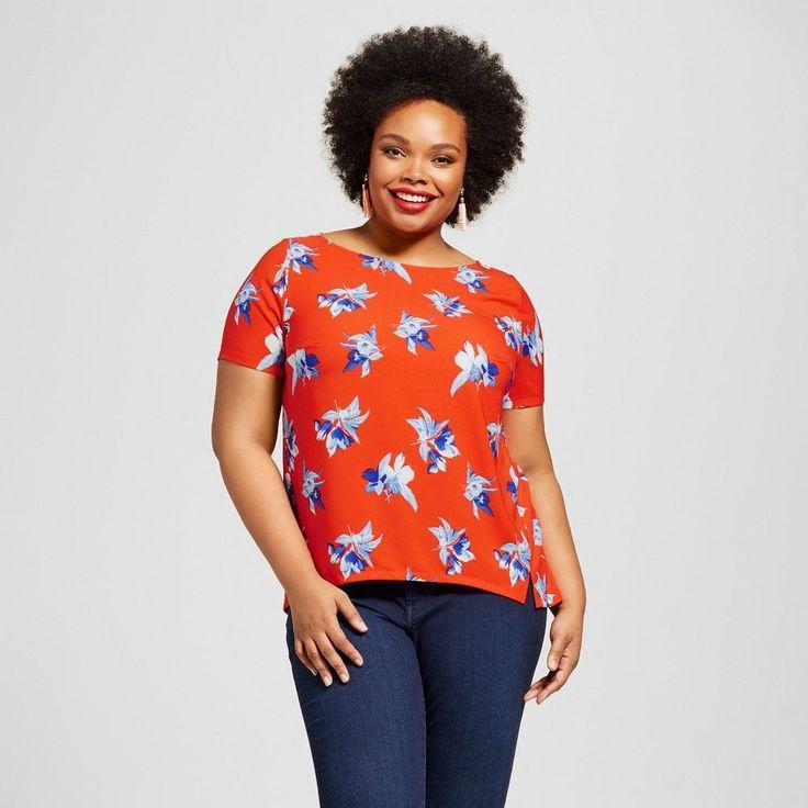 Women's Plus Size Woven Tee Orange Floral 3X - Ava & Viv