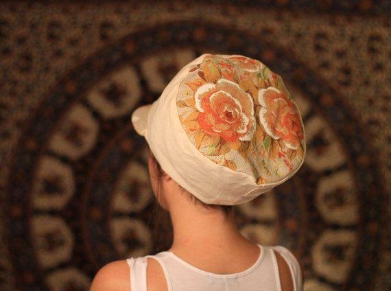 Dreadbag  white/écru and floral design dreadlocks cap by WuSquared