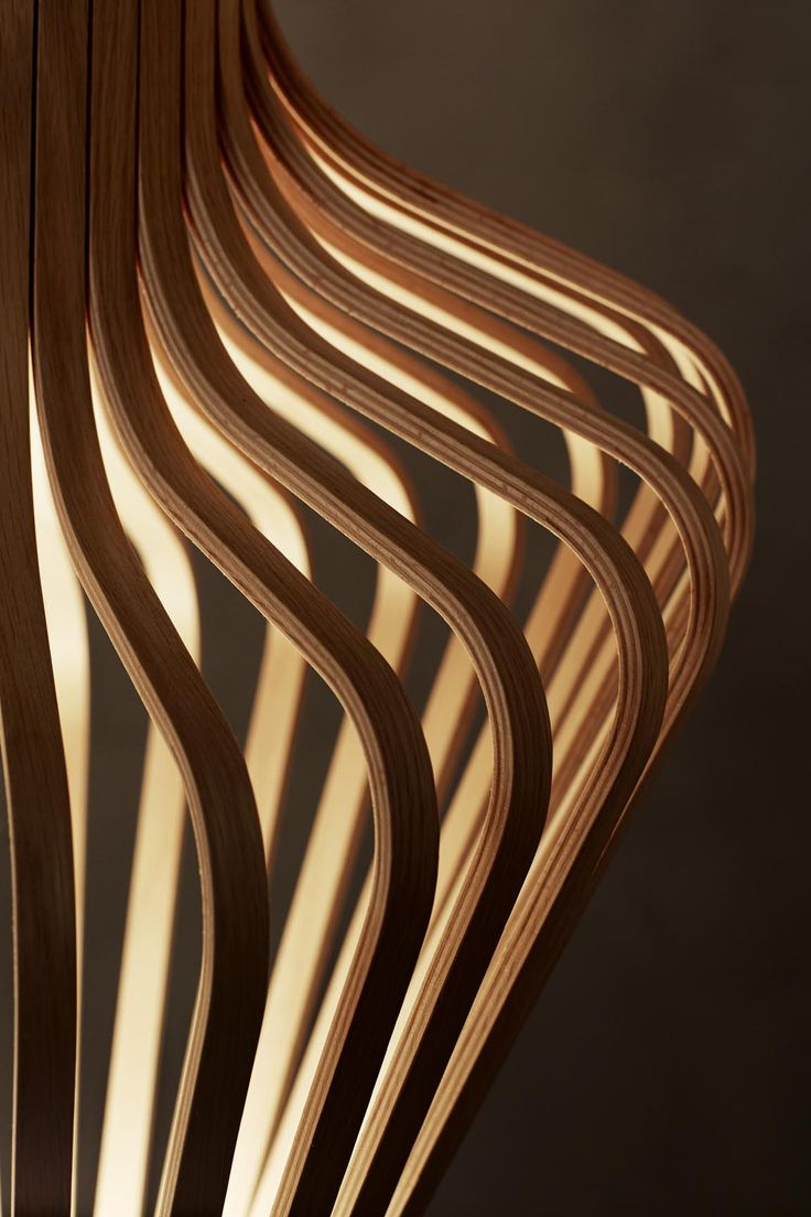 Diva is a set of wooden laminated floor and pendant light sculptures, designed by Peter Natedal & Thomas Kalvatn Egset