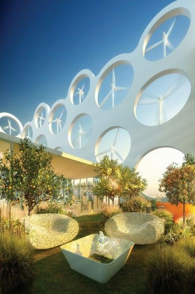 Thumbs up for sustainable solutions with design appeal! Wind turbine penthouse apartments. » Awesome!