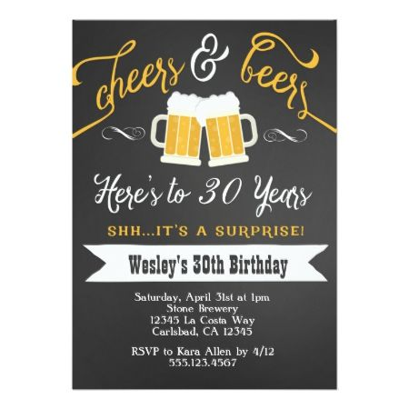 Surprise Cheers & Beers Birthday Party Invitation - tap to personalize and get yours