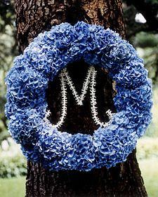 Monogram wreath: Hydrangea Wreath, Craft, Blue Hydrangeas, Wedding Ideas, Weddings, Monogram, Wedding Wreaths, Floral Wreaths