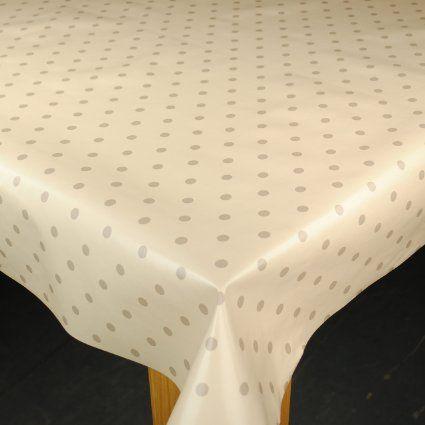 Cream & Beige Dotty Wipe Clean Tablecloth by Karina Home 200cm x 137cm