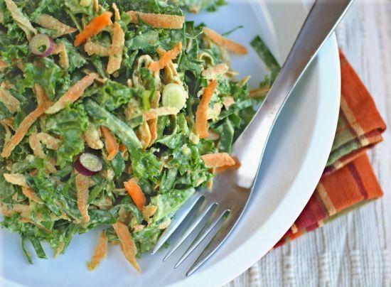 #Raw Sweet Potato and Greens Slaw (#vegan #recipe)