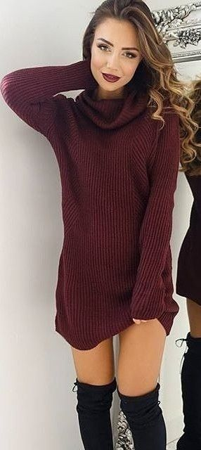 #fall #trending #outfits |  Burgundy Sweater Dress