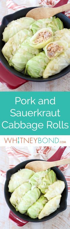These German inspired Cabbage Rolls are filled with ground pork and sauerkraut, then simmered in a garlic onion broth for an amazingly flavorful recipe! #recipe #cooking