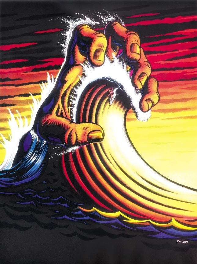 Hand Wave, Surf Crazed Comics (1992) by artist Jim Phillips. This is siiick. The almighty force of the sea, that dude must be stoked.