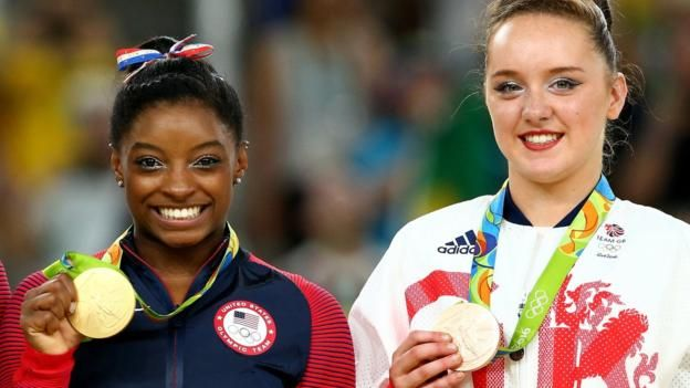 Great Britain's Amy Tinkler won Olympic bronze in the women's floor as the United States' Simone Biles secured her fourth gold medal of Rio 2016.