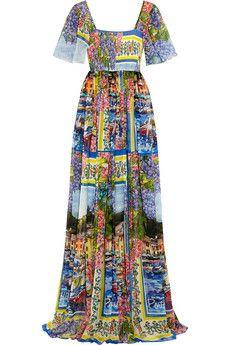 Dolce & Gabbana Portofino printed silk-chiffon gown | NET-A-PORTER
