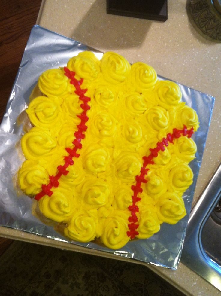Softball cupcake cake!
