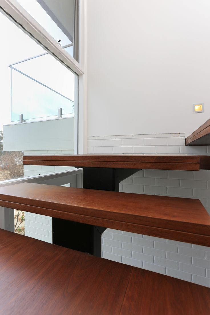 Detail of timber floating staircase
