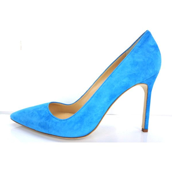 Manolo Blahnik Bb Pointed Toe Blue Suede Pumps Sz 39 Nib $595 ($416) ❤ liked on Polyvore featuring shoes, pumps, suede pumps, stiletto shoes, blue suede shoes, pointed-toe pumps and blue shoes