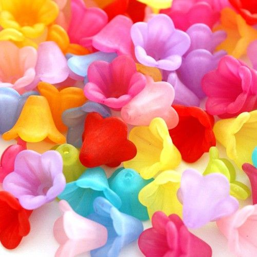 20pcs Multicolor Acrylic Frosted Flower Bead Caps Facr-5332-M