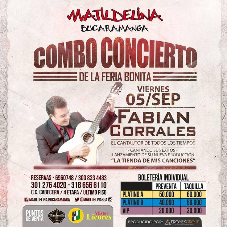 Disfruta del gran concierto de Fabian Corrales este 5 de septiembre #musica #music #vallenato #nigth #people #mujer #hombre #latina #men #women #bucaramanga #matildelina #cccuartaetapa