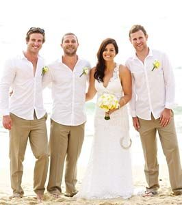 Casual Beach Ceremony - Love the khakis and white shirts for the men.