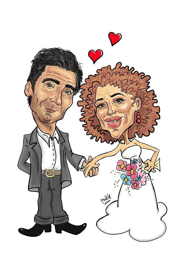 Caricatura per coppia di sposi. Eseguita in arte digitale, senza ricalco a mano libera, una simpatica idea per personalizzare partecpazioni, bomboniere, inviti, tableau...