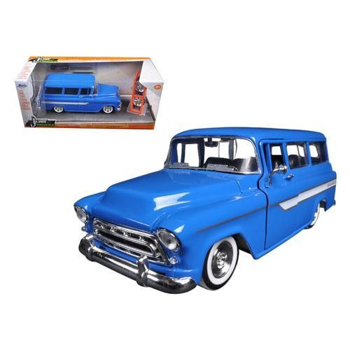 """1957 Chevrolet Suburban Blue """"Just Trucks"""" with Extra Wheels 1/24 Diecast Model by Jada"""