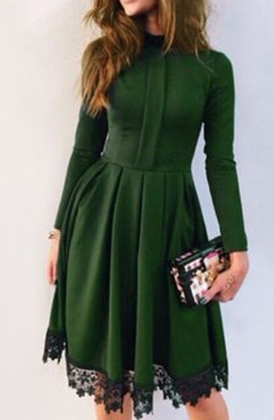 Green Patchwork Lace Long Sleeve Fashion Polyester Midi Dress
