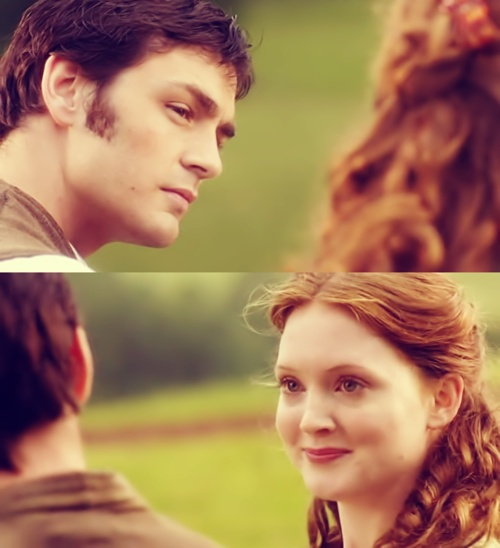 Laura and Fisher (Lark Rise to Candleford). Laura falls in love with way too many guys. << Yes, yes she does. She should have stopped at Fisher!