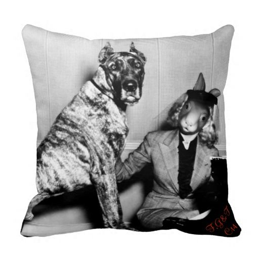 Great Rabbit with a Dane Throw Pillows