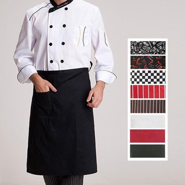 Chefs / Server Apron.   Half-length.  Long Waist