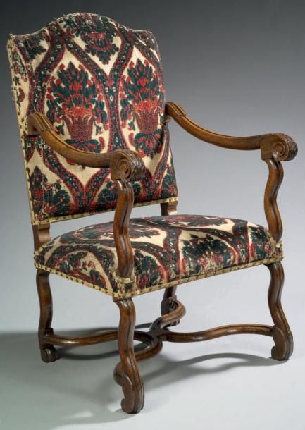 fauteuil louis xiv bois de noyer et moquette h 110 cm l 63 cm p 39 5 cm france louis. Black Bedroom Furniture Sets. Home Design Ideas