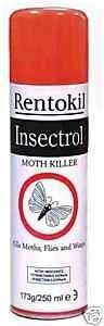 Rentokil PS127 Insectrol Moth Killer 250ml Get rid of moths quickly.Insectrol Moth Killer acts fast to get rid of moths in your house. This insecticidal spray also kills flies and wasps. Contains Tetramethrin and Permethrin. Always read the label and product information before use. Use biocides safely.This pest control product can be used indoors.Size: 250ml.Fast control of moths in the homeAlso kills flies and waspsThis pest control product can be used indoors, in your hom