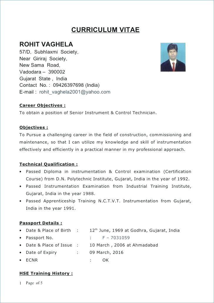 Resume Format Gujarat In 2020 Engineering Resume Teacher Resume Template Curriculum Vitae