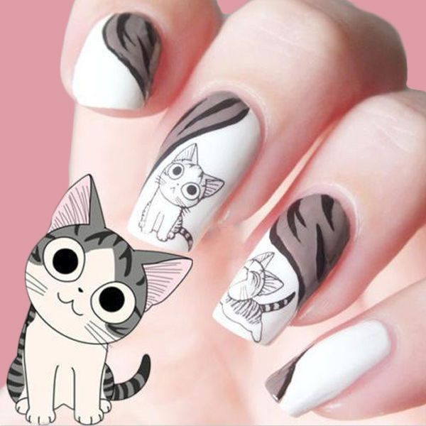 Water Transfer 3D Grey Cute Cat Nail Art Sticker Full Wraps Manicure... ❤ liked on Polyvore featuring beauty products, nail care and nail treatments
