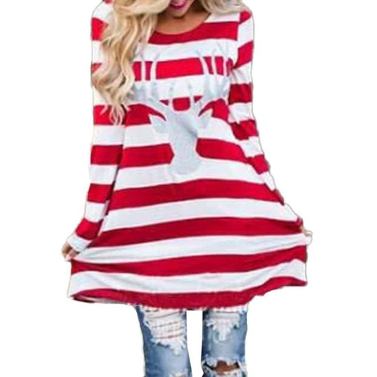 Mother Daughter Dress 2017 Long Sleeve Fashion Christmas Elk Striped Cotton T shirt Dress Family Look Matching Clothes Plus Size
