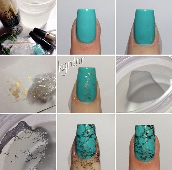 Creative Nail Art Tutorial – DIY  3 different colors of nail polish ( if 2 are shimmer nail polishes it would be perfect); - plastic bags; - cup of water; - hair spray.