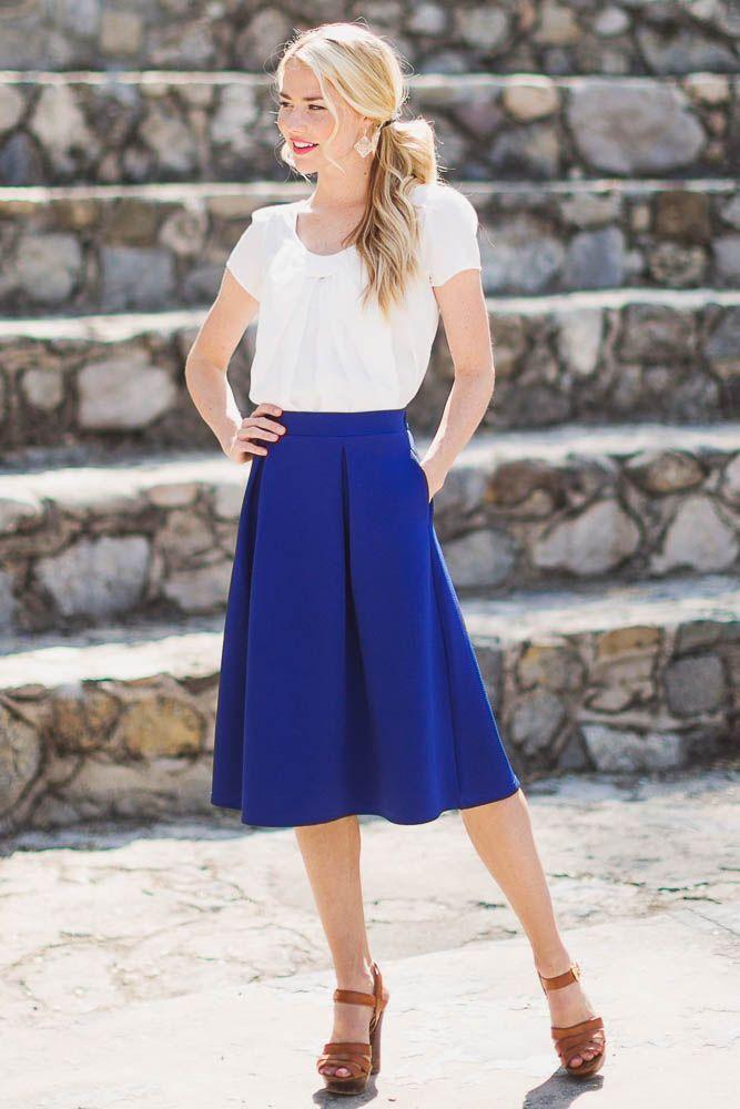 A-Line Modest Skirt in Royal Blue